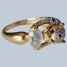 14K Yellow Gold Sapphire Diamond & Topaz Feline/Leopard Statement Ring