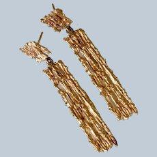 Barbara Anton 14K Textured Filigree Yellow Gold Long Drop Dangle Pierced Earrings