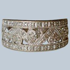 Feminine 10K White Gold Filigree Diamond Floral Wedding Band/Ring