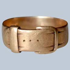 Antique 14K Yellow Gold Belt Buckle Ring/Band