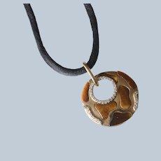 14K Yellow Gold Diamond & Tiger's Eye Necklace/Pendant