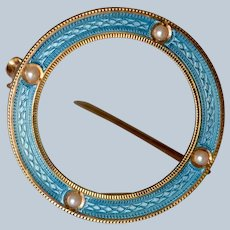 Antique 14K Yellow Gold Blue Enamel & Seed Pearl Open Circle Brooch/Pin