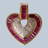 Vintage 14K Yellow Gold Diamond & Ruby Baguettes Heart Pendant