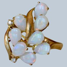 Beautiful 14K Yellow Gold Diamond & Opal Cluster Cocktail Ring