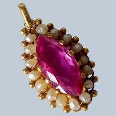 Vintage 14K Yellow Gold Pink Tourmaline & Seed Pearl Pendant