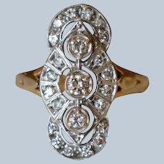 Beautiful 14K Yellow Gold Triple Diamond Cluster Engagement Ring