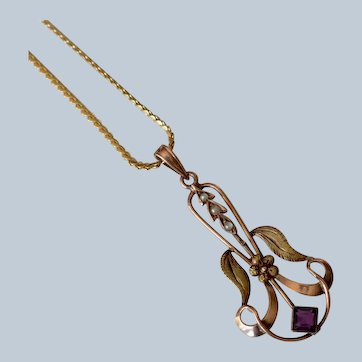 Antique Art Nouveau 10K Rose Gold Amethyst And Seed Pearl Pendant