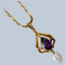 Antique Art Nouveau 14K Yellow Gold Amethyst and Baroque Seed Pearl Pendant