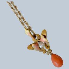 Antique Art Nouveau 14K Yellow Gold Enamel Coral Baroque Seed Pear Pendant