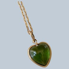 14K Yellow Gold Green Stone Heart Pendant