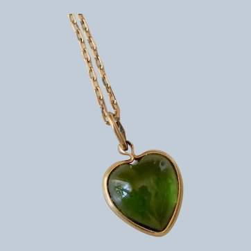 14K Yellow Gold Green Stone Heart Pendant