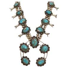 Vintage Navajo Blue Gem Turquoise Squash Blossom Sterling Silver Necklace