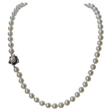14K White Gold Rose Clasp Culture Pearl Necklace