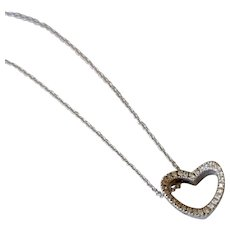 Original Pasquale Bruni 18K White Gold Diamond Open Heart Wavy Necklace