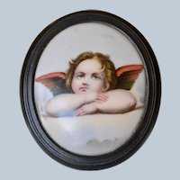 Large Victorian Porcelain Hand-painted Cherub/Angel Portrait Brooch