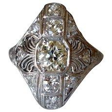Wonderful Art Deco Platinum 0.80ct Diamond Filigree Engagement Ring