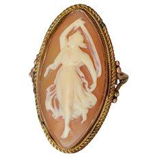 Lovely Victorian 10K Rose Gold Shell Cameo Goddess Navette Cocktail Ring