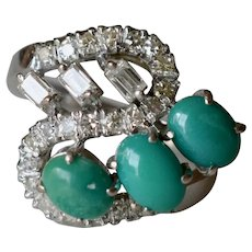 Stunning Retro 18K White Gold Turquoise & Diamond Cocktail Ring/Engagement Ring