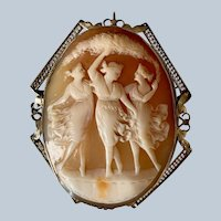 Art Deco 14K White Gold Filigree Three Graces Carved Shell Cameo Brooch/Pendant