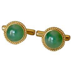 Antique 14K Yellow Gold Green Jade Cufflinks