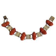 Gorgeous Antique Victorian 14K Yellow Gold Carved Red Coral Cameo Link Filigree Bracelet