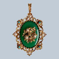 Stunning English Victorian 9K Yellow Gold Chalcedony, Pearl & Turquoise Forget-Me-Not Mourning Brooch/Pendant