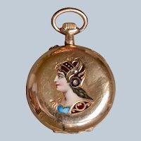 Gorgeous Antique 14K Yellow Gold Enamel & Rose-cut Diamond Ladies Pocket Watch/Pendant