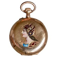 Gorgeous Antique 14K Yellow Gold Enamel & Rose-cut Diamond Ladies Pocket Watch/Pendant