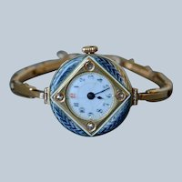 Antique Viennese 14K Yellow Gold Enamel & Old-mine Diamond Ladies Wrist Watch