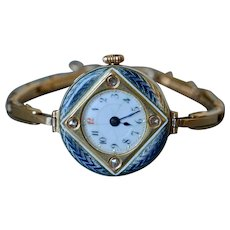 Antique Viennese 14K Yellow Gold Enamel & Old-mine Diamond Ladies Wrist Watch