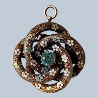 Antique Victorian 14K Yellow Gold Enamel Flower & Topaz Love Knot Pin/Pendant