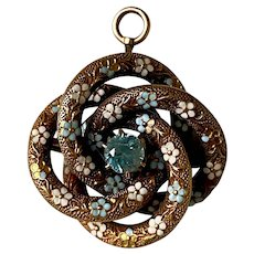 Antique Victorian 14K Yellow Gold Enamel Flower & Topaz Love Knot Pin/Pendant