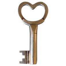 Antique Italian 18K Yellow Gold Love Key Ring/Heart Pendant
