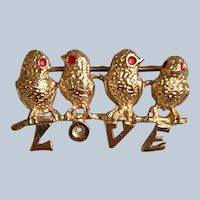 14K Yellow Gold Love Birds Brooch/Pin