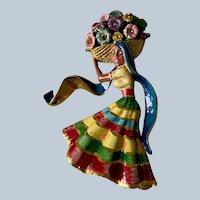 Vintage Large Sterling Gold Vermeil Coro Craft Enamel & Rhinestone Mexican Flowergirl Figural Brooch/Pin