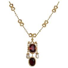 Gorgeous Antique 14K Yellow Gold Garnet & Pearl Necklace