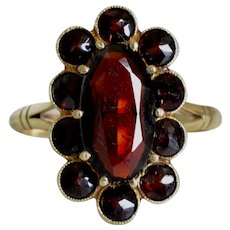 Antique Victorian 14K Yellow Gold Garnet and Garnet Halo Cluster Ring