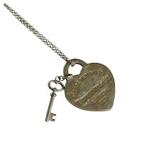 """Tiffany & Co. Sterling Silver Return To Tiffany Heart Key Pendant 18"""" Necklace"""
