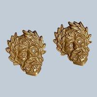 Elegant 14K Yellow Gold Diamond Greek Mythology God Men's Cufflinks