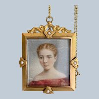Antique American 10K Yellow Gold Hand-painted Miniature Portrait of a Young Woman Pendant (1832-1907)