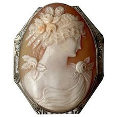 Large Art Deco 14K White Gold Filigree Carved Shell Cameo Lady Brooch/Pin/Pendant