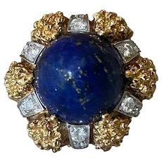Fabulous Oversized 18K Yellow Gold Lapis Lazuli & Diamond Designer Statement Dome Ring