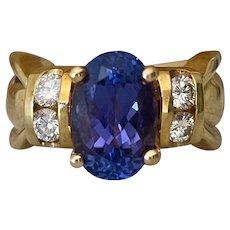 Impressive 18K Yellow Gold Blue Tanzanite & Diamond Ring