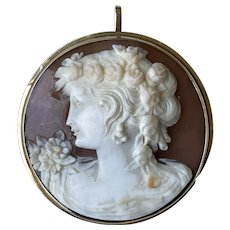 Antique Rare 14K Yellow Gold Carved Shell Cameo Lady Portrait Round Brooch/Pendant