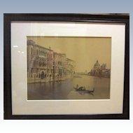 Huge Albumen Print of Venice 1890s J. Kuhn Paris Hand Colored