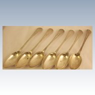 Set of Six Antique German Spoons Solid Silver
