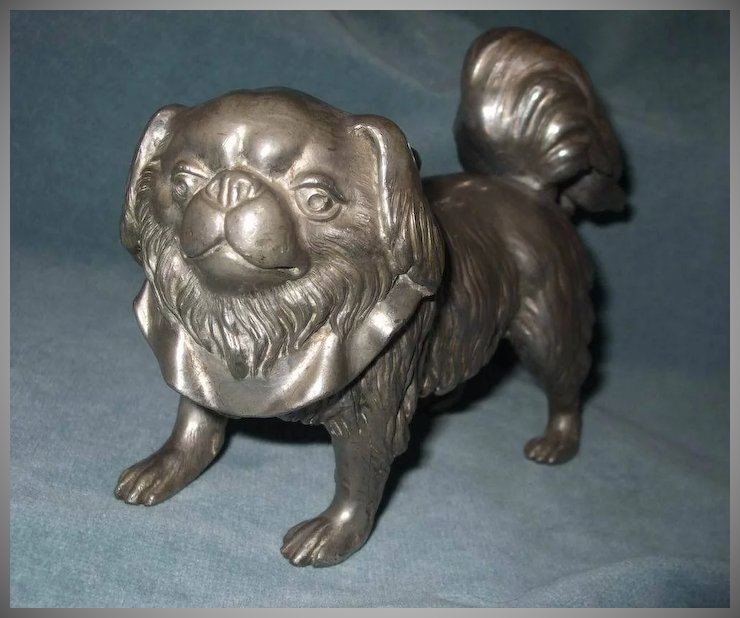 Cute White Metal Pekingese Dog Doorstop Spirit In The Sky Ruby Lane