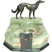 Great Wolfhound Art Deco Green Onyx Ashtray