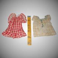 Set Of Two Vintage Tiny Doll Dresses