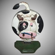 Great Comical Cow Character Cast Iron Child's Doorstop